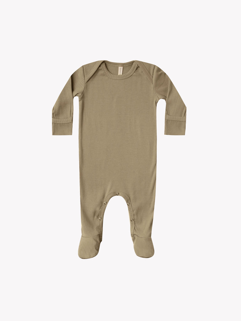 Ribbed Footie in Olive  - Doodlebug's Children's Boutique