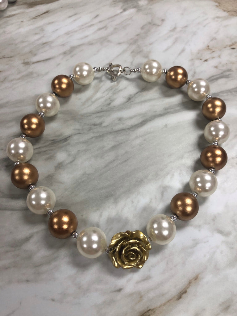 Gold and Pearl Necklace Gold - Doodlebug's Children's Boutique