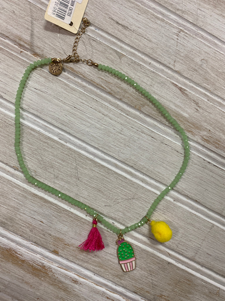 Beaded Necklace Green Cactus - Doodlebug's Children's Boutique