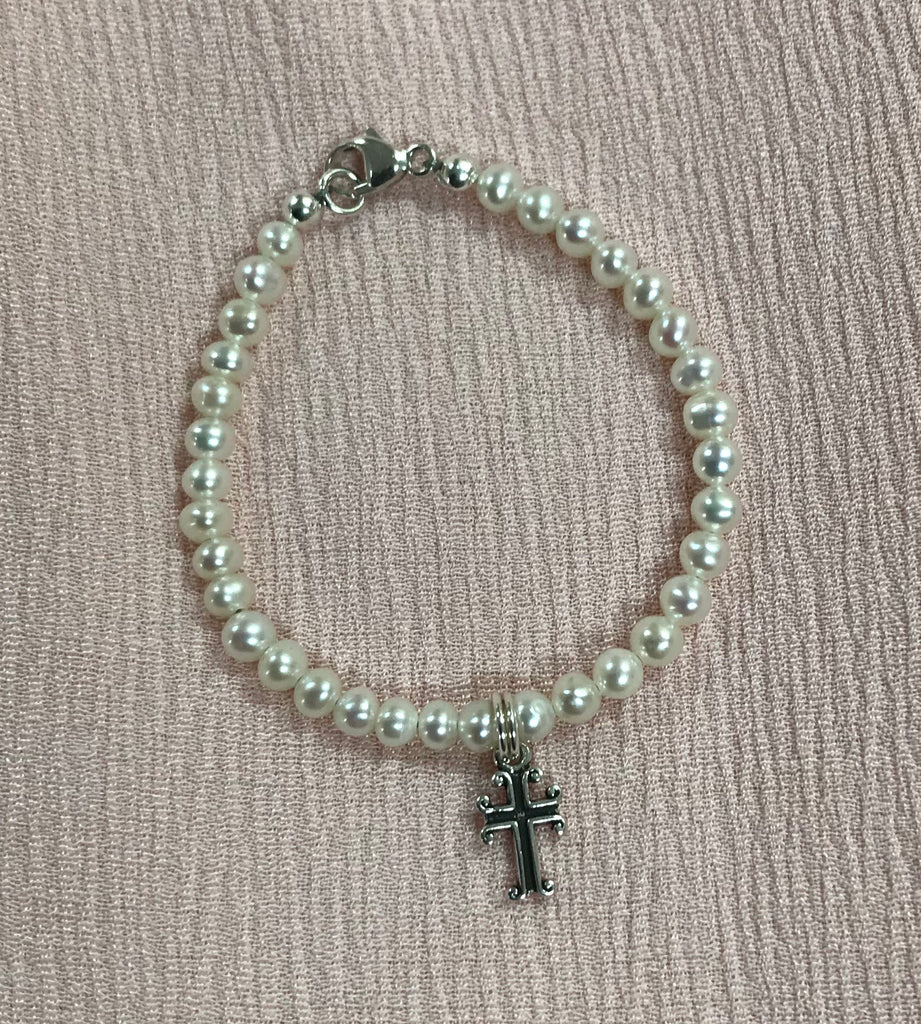 "Pearl Cross Pearl Bracelet 4"" / Pearl Cross - Doodlebug's Children's Boutique"