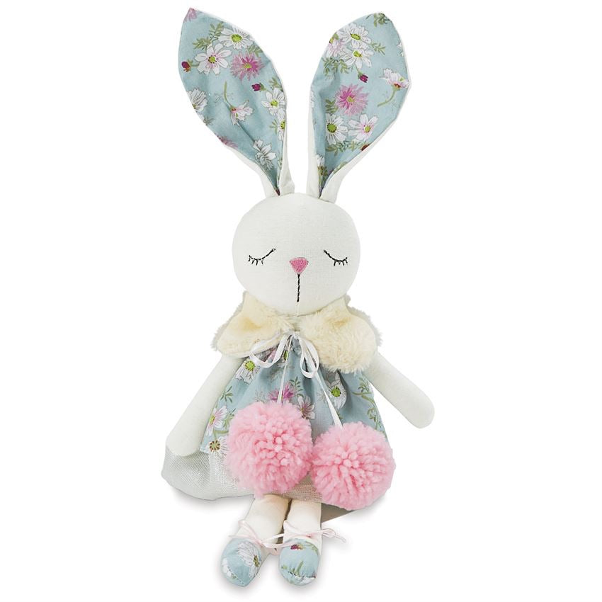 Linen Blue Floral Bunny Doll  - Doodlebug's Children's Boutique
