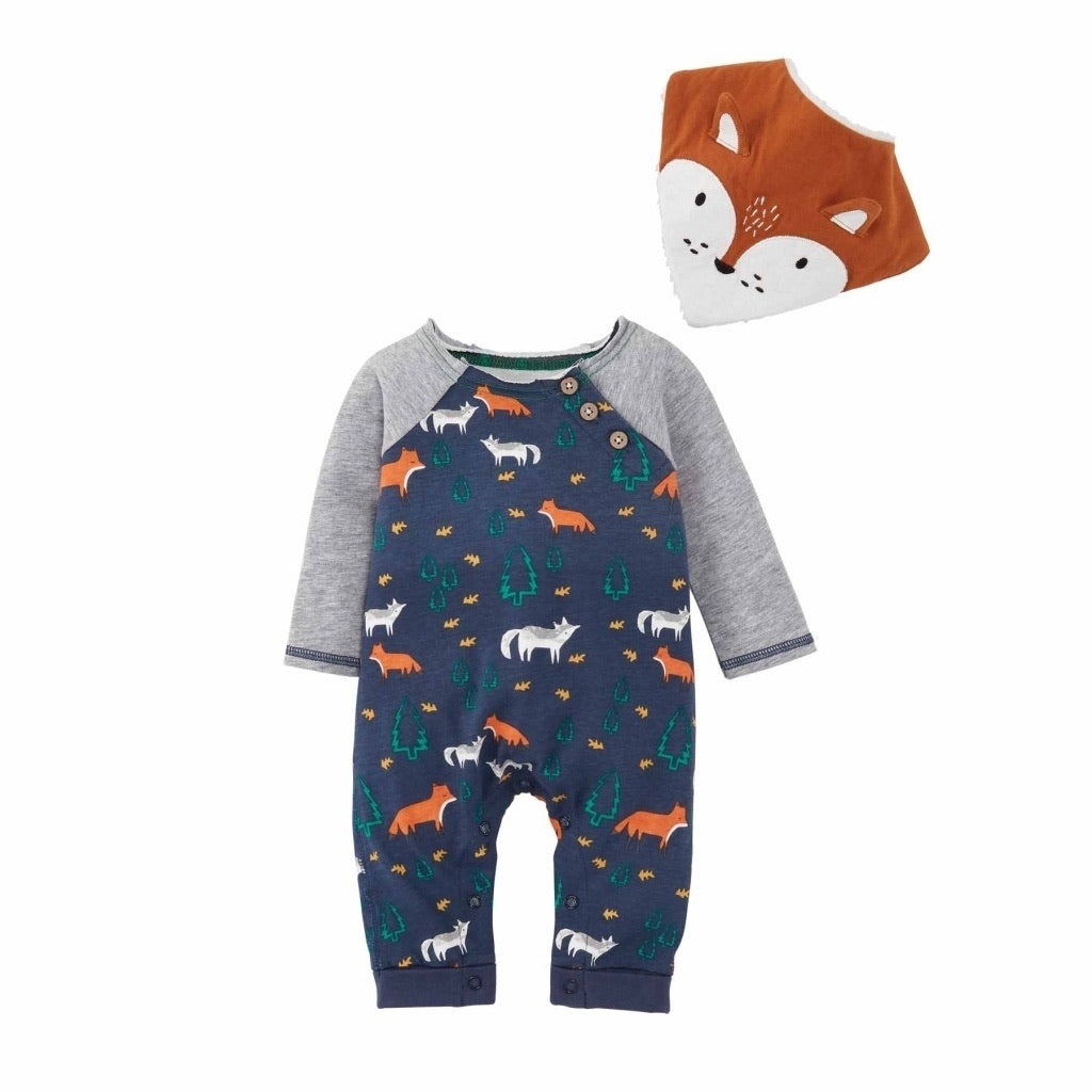 Fox One Piece with Bib  - Doodlebug's Children's Boutique