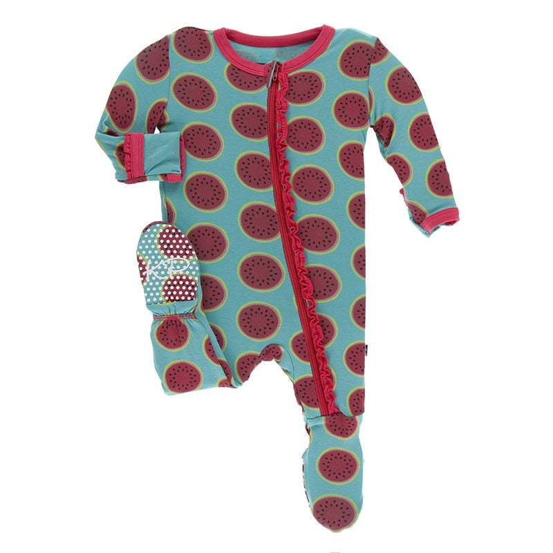 Print Muffin Ruffle Footie with Zipper in Neptune Watermelon  - Doodlebug's Children's Boutique