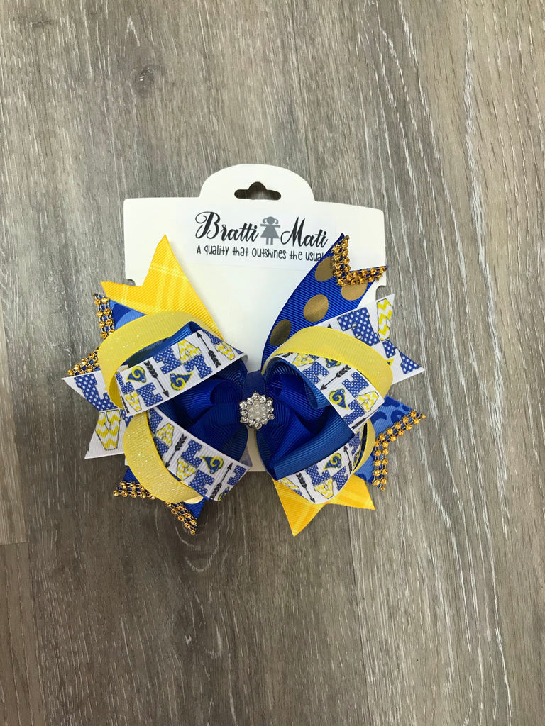 Bratti Mati Hair Medium Embellished Hair Bow Lakeside - Doodlebug's Children's Boutique
