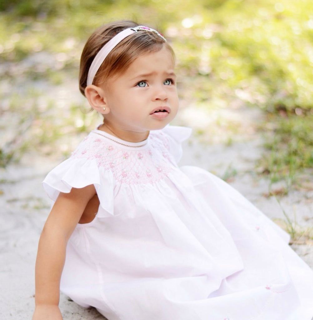 Pearl Flower Fly Sleeve Bishop Dress  - Doodlebug's Children's Boutique