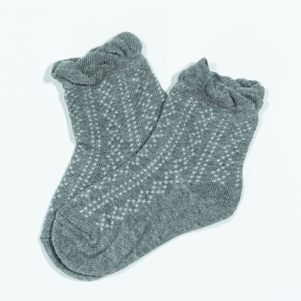Ruffle Anklet Socks in Gray Gray / 0-6 months - Doodlebug's Children's Boutique
