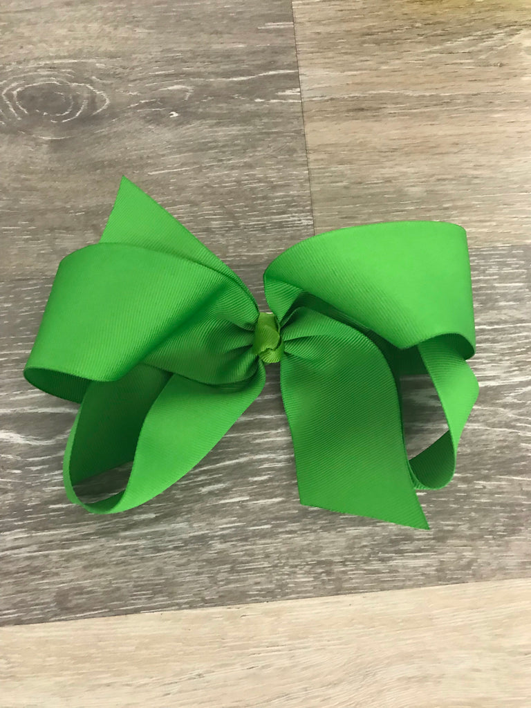 Lime Large Solid Hair Bow Lime - Doodlebug's Children's Boutique