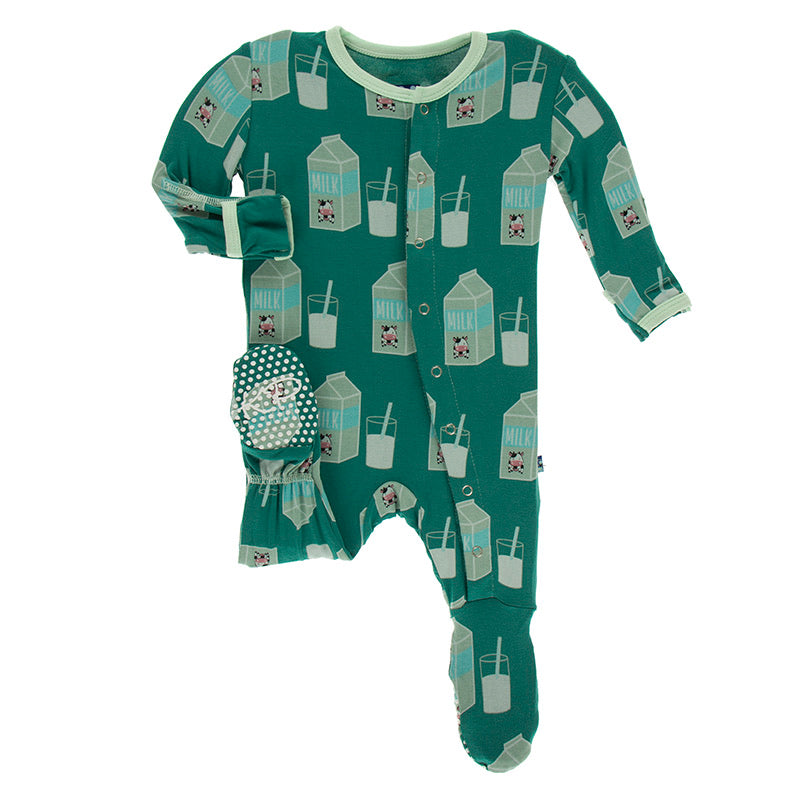 Print Footie with Zipper in Ivy Milk  - Doodlebug's Children's Boutique
