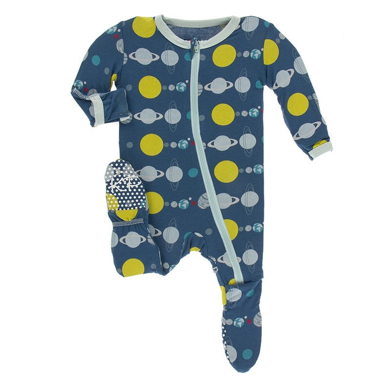 Print Footie with Zipper in Twilight Planets  - Doodlebug's Children's Boutique