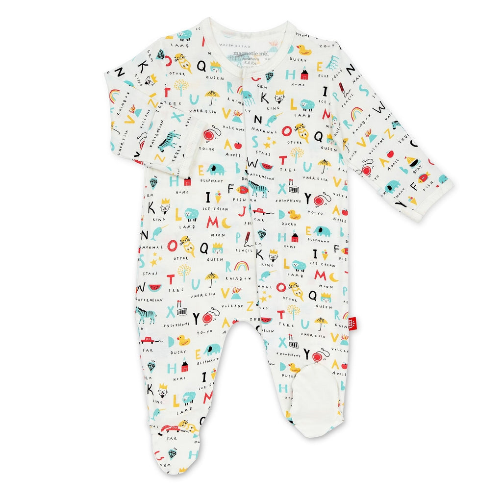 ABC Love Magnetic Modal Footie ABC Love Modal Collection Footie / Preemie - Doodlebug's Children's Boutique