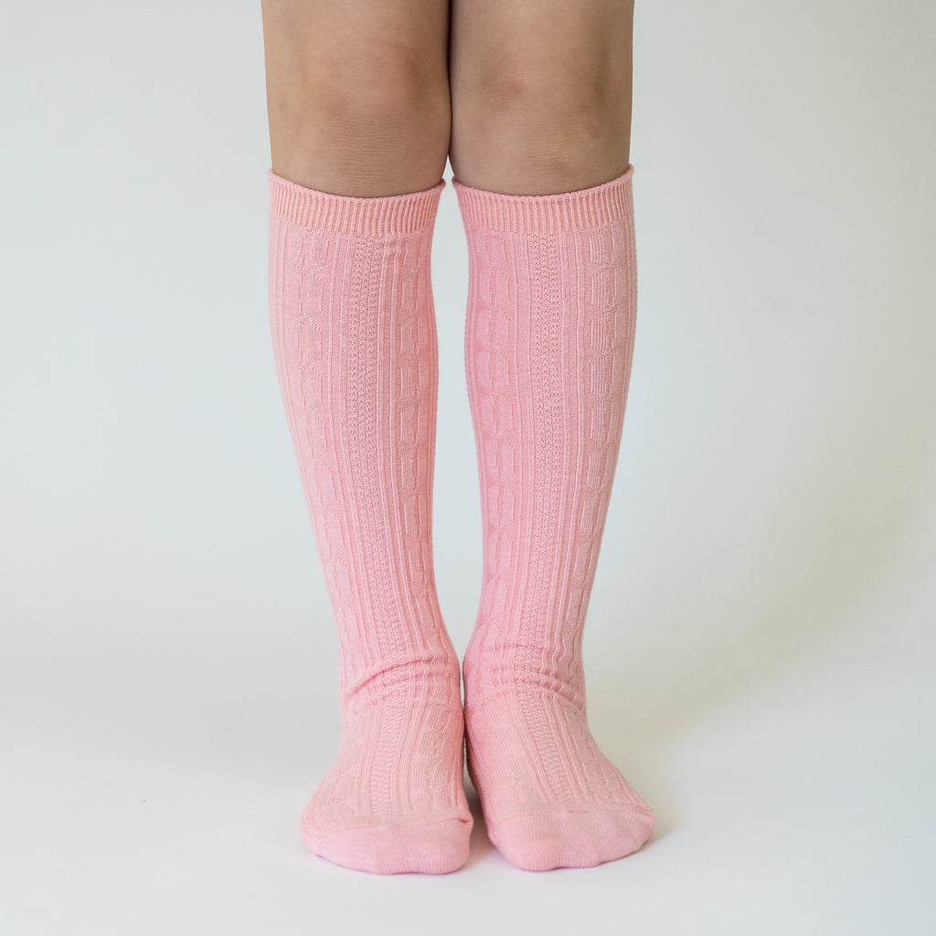 Knee High Socks in Carnation Pink Carnation Pink / 0-6 months - Doodlebug's Children's Boutique