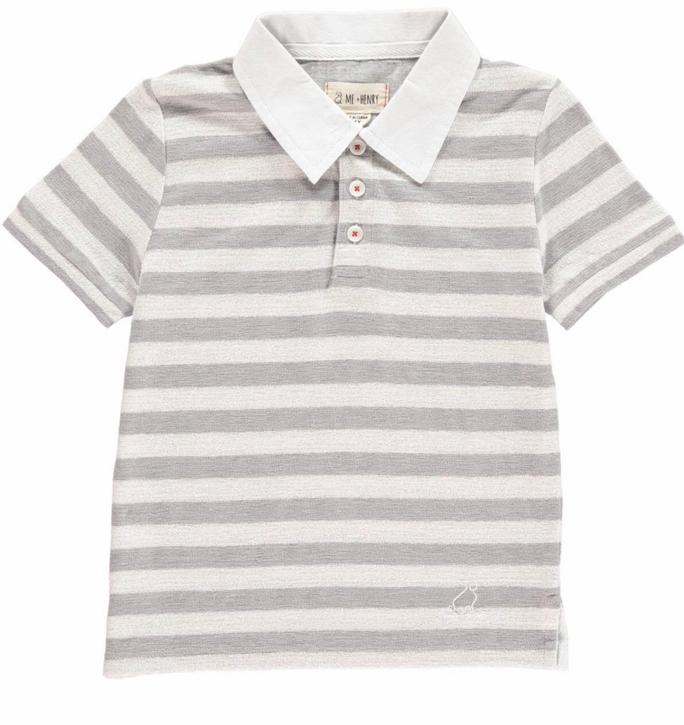 Me & Henry Grey Striped Polo