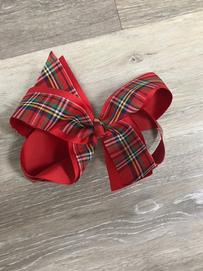 Small Christmas Plaid Bow Small Christmas Plaid - Doodlebug's Children's Boutique