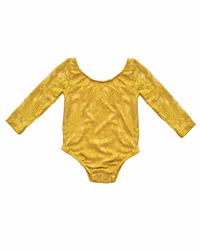 Bailey's Blossoms Mustard Lace Leotard  - Doodlebug's Children's Boutique