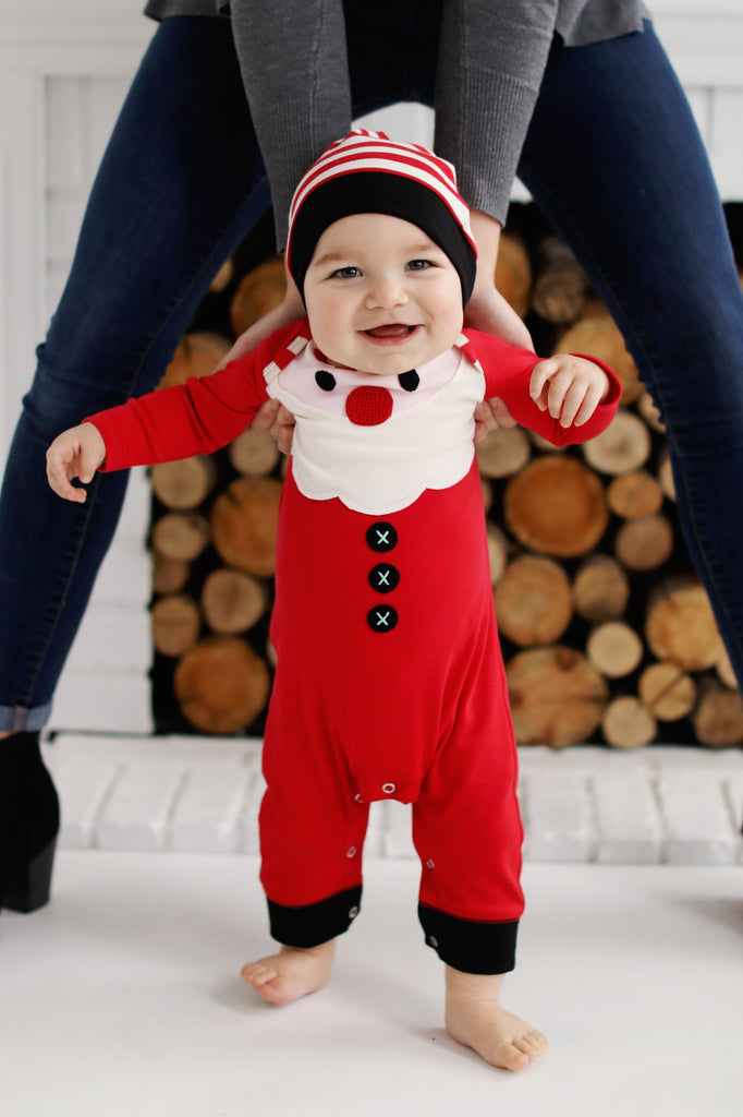Lemon Loves Lime Santa Baby Romper with Hat  - Doodlebug's Children's Boutique