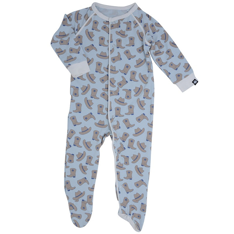 Sweet Bamboo Piped Footie Cowboy / Newborn - Doodlebug's Children's Boutique