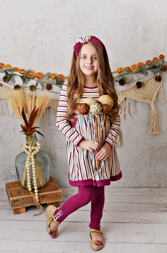 Mulberry Stripe Pocket Dress with Legging and Headband  - Doodlebug's Children's Boutique