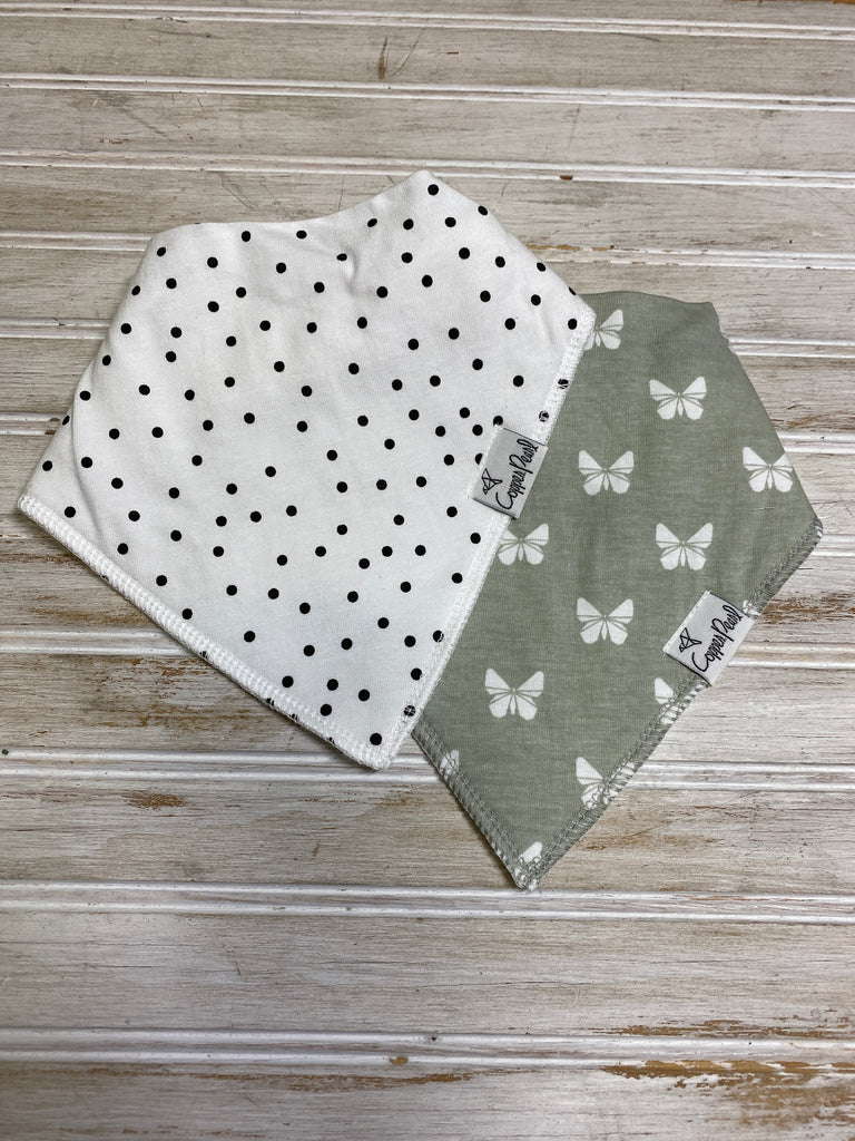 Two Pack Bandana Bibs in Willow  - Doodlebug's Children's Boutique