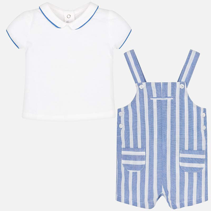 Mayoral Striped Dungaree Set