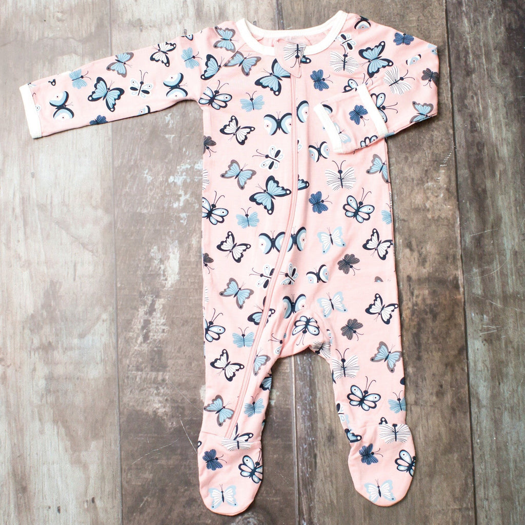 Bestaroo Zippered Footie for Girls Butterflies on Pink / 0-3 months - Doodlebug's Children's Boutique