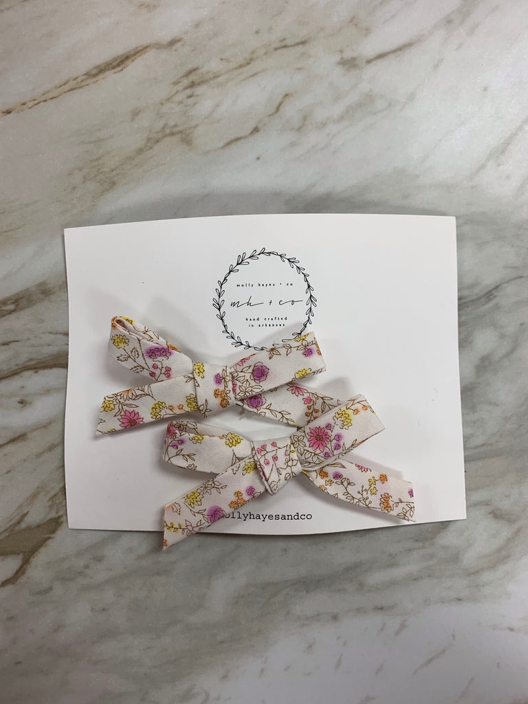 Molly Hayes & Co. Pigtail Bow Set Wild Flower - Doodlebug's Children's Boutique