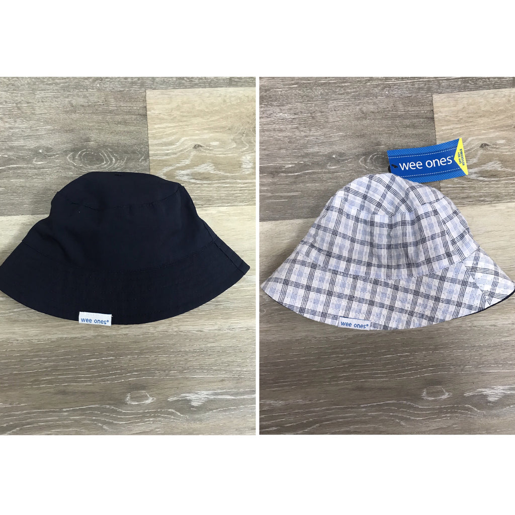 Navy Plaid Reversible Bucket Hat Navy / 12-18 months - Doodlebug's Children's Boutique