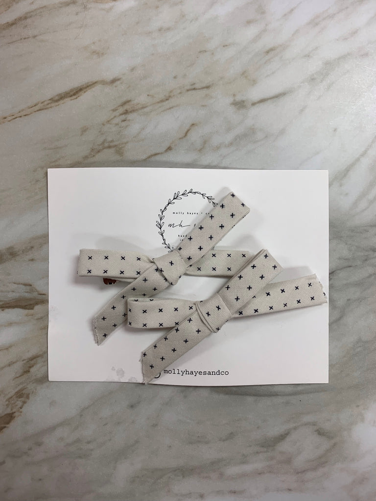 Molly Hayes & Co. Pigtail Bow Set Crosses - Doodlebug's Children's Boutique