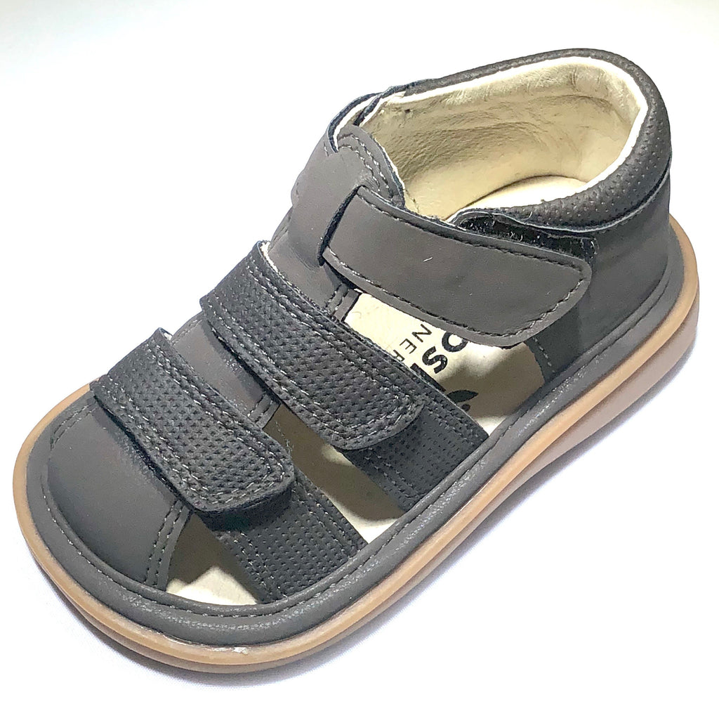 Mooshu Henry Charcoal Squeaky Trainers  - Doodlebug's Children's Boutique