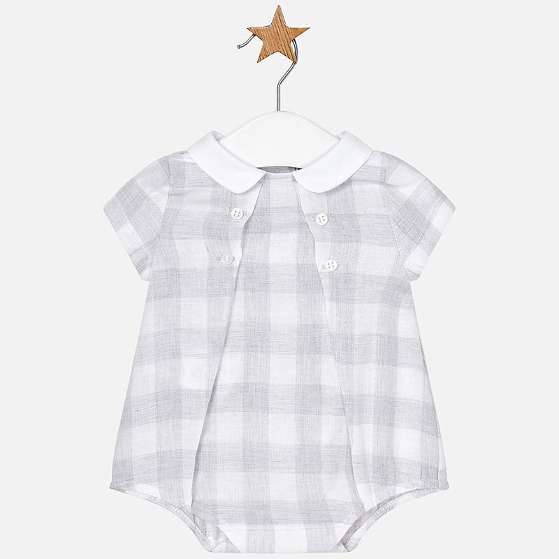 Mayoral Checked Linen Romper