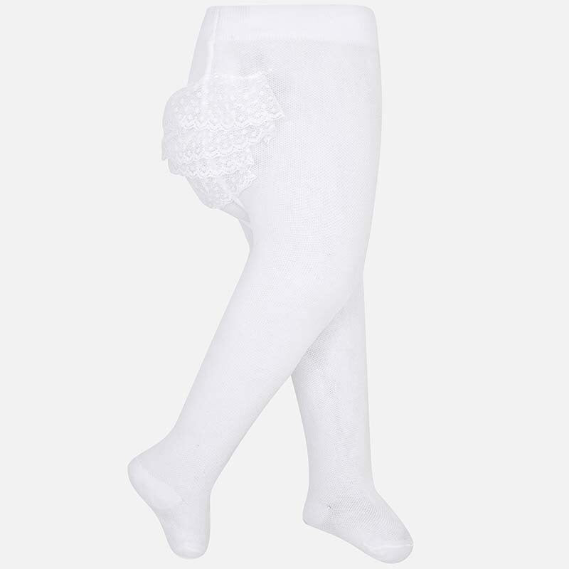 White Tights with Ruffles White / 3m - Doodlebug's Children's Boutique