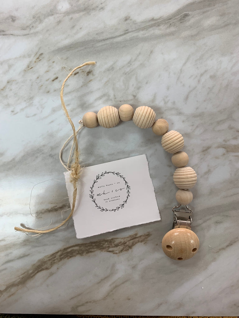 Molly Hayes & Co. Teething Bead Pacifier Clip Natural Stripe - Doodlebug's Children's Boutique
