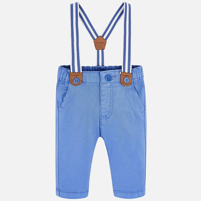 Blue Long Trousers With Suspenders  - Doodlebug's Children's Boutique