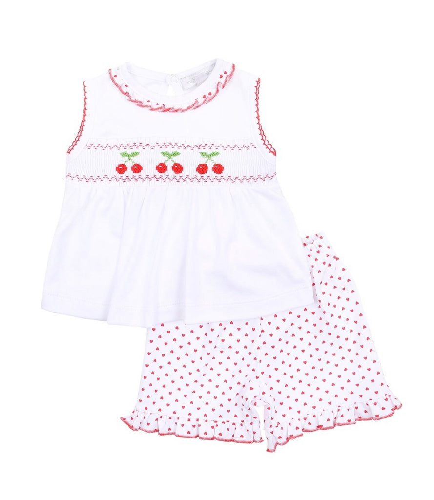 Magnolia Baby Cherry on Top Smocked Sleeveless Short Set