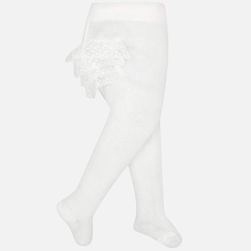 Off White Tights with Ruffles Off White / 3m - Doodlebug's Children's Boutique