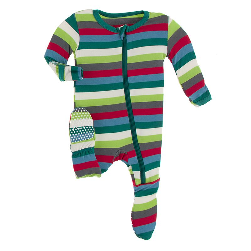 Print Footie with Zipper in Multi Stripe  - Doodlebug's Children's Boutique