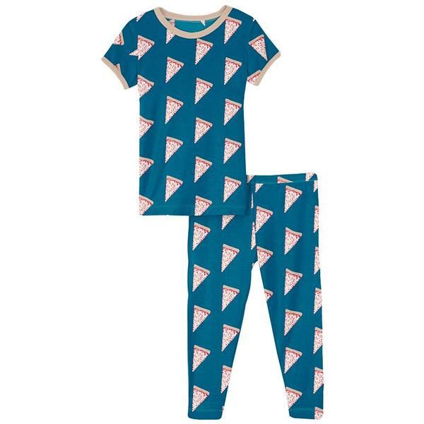 Print Short Sleeve Pajama Set in Seaport Pizza Slices  - Doodlebug's Children's Boutique