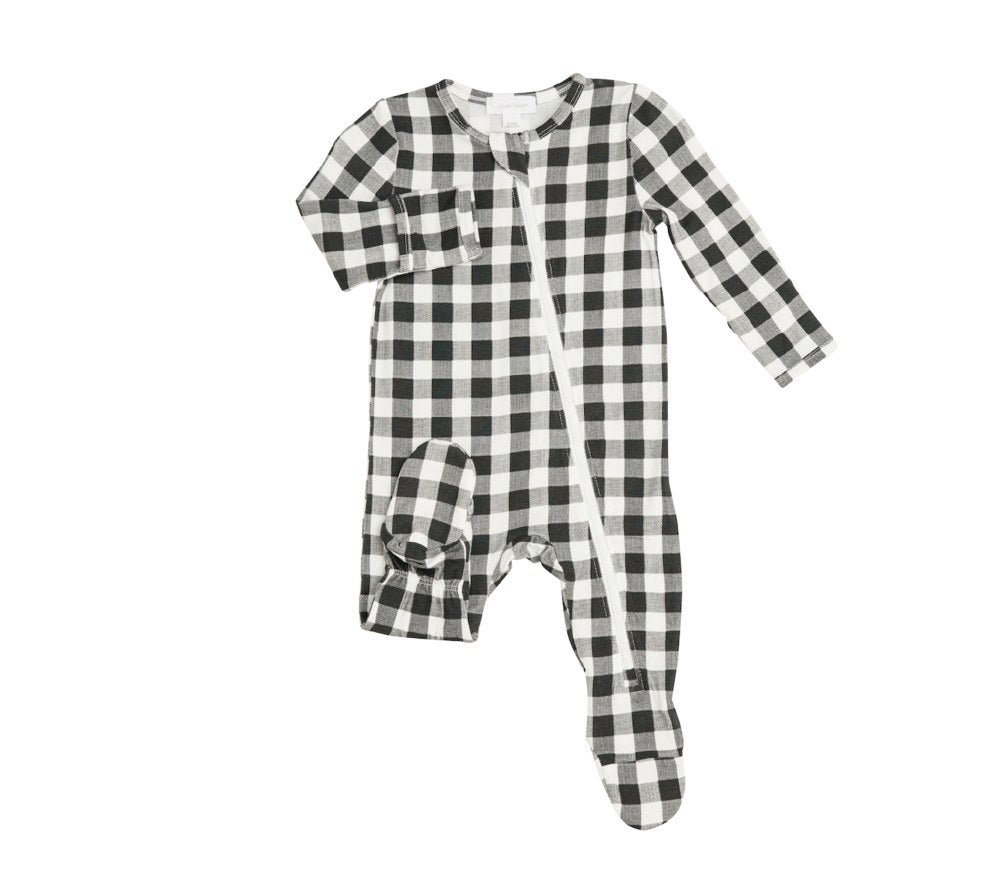 Zipper Footie in Black and White Gingham  - Doodlebug's Children's Boutique