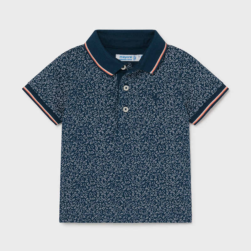 Navy Print Polo  - Doodlebug's Children's Boutique
