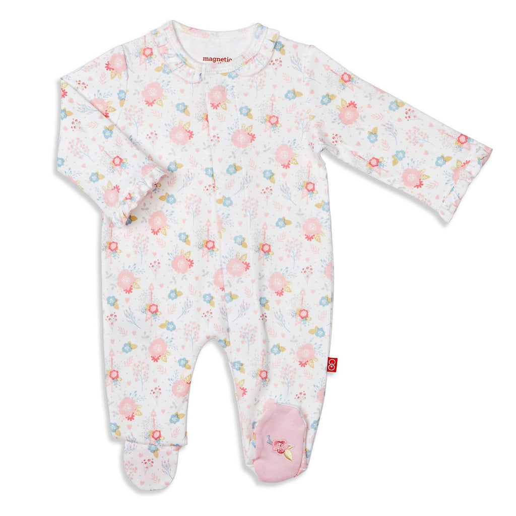 Nottingham Floral Magnetic Organic Cotton Footie  - Doodlebug's Children's Boutique