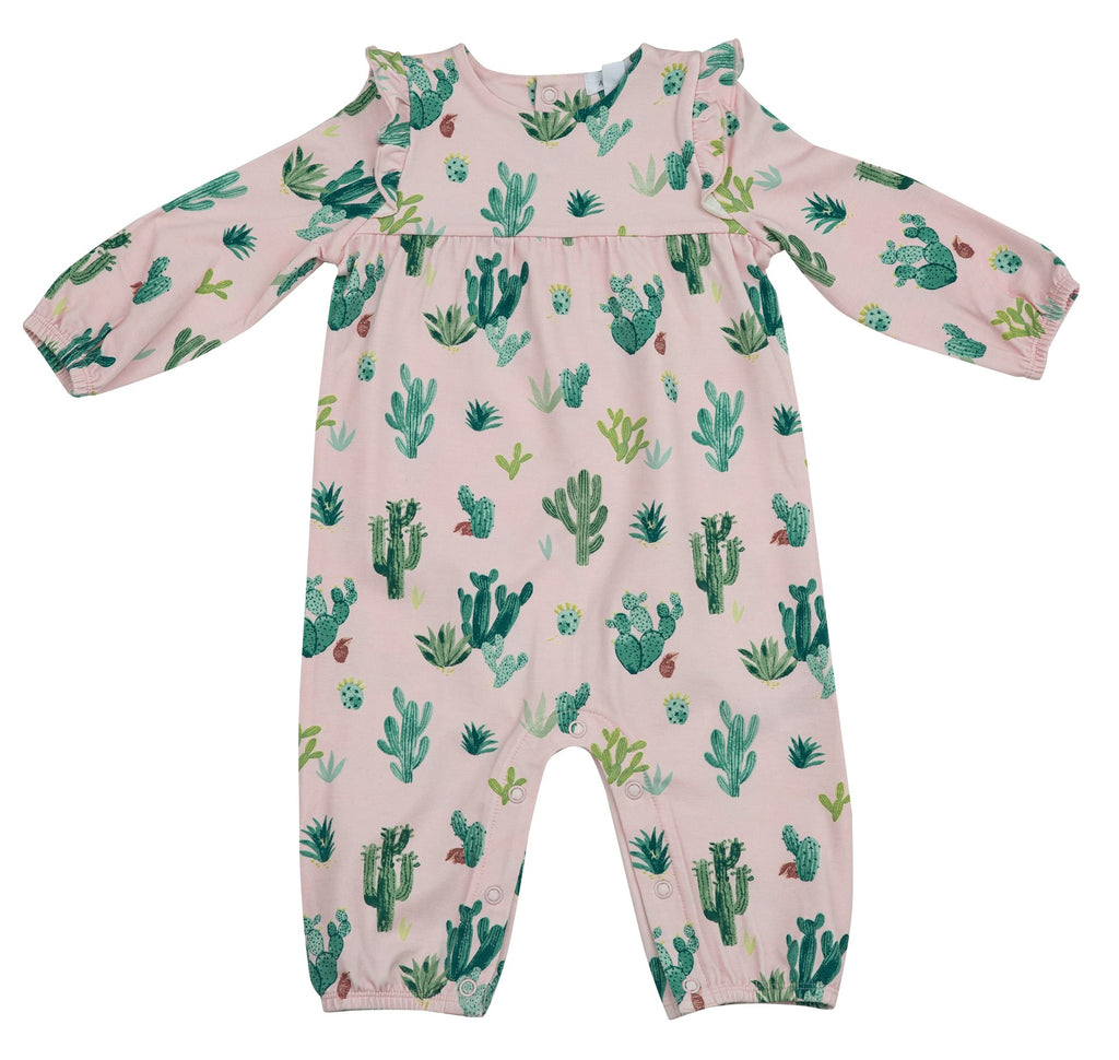 Ruffle Sleeve Romper in Pink Cactus  - Doodlebug's Children's Boutique