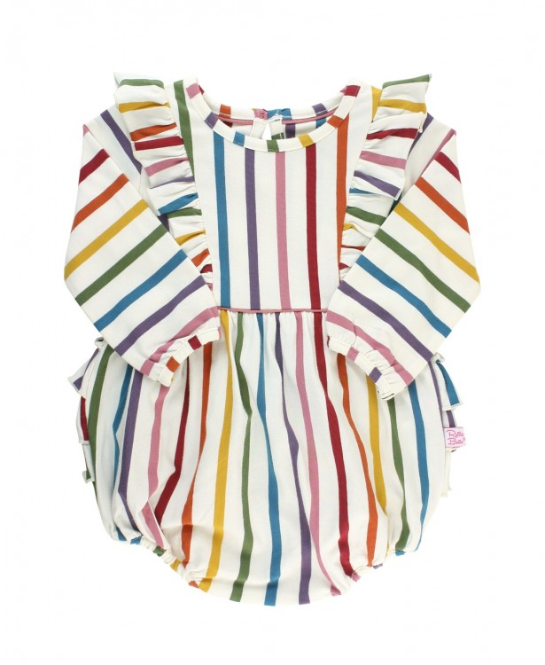 Harvest Rainbow Stripe Waterfall Bubble Romper  - Doodlebug's Children's Boutique