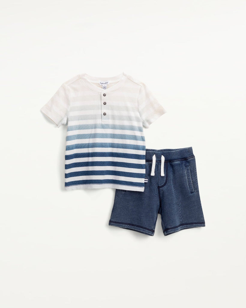 Bleach Dip Dye Henley Set  - Doodlebug's Children's Boutique
