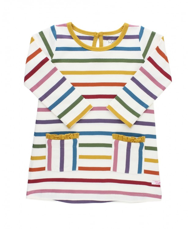 Pocket Dress in Harvest Rainbow Stripe