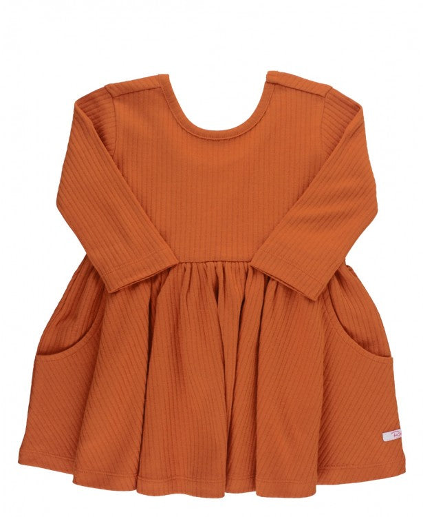 Ribbed Twirl Dress in Orange Spice