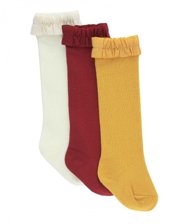 3 Pack Knee High Socks in Ivory, Cranberry, and Golden Yellow  - Doodlebug's Children's Boutique