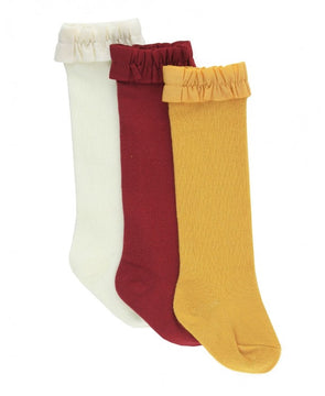 3 Pack Knee High Socks in Ivory, Cranberry, and Golden Yellow