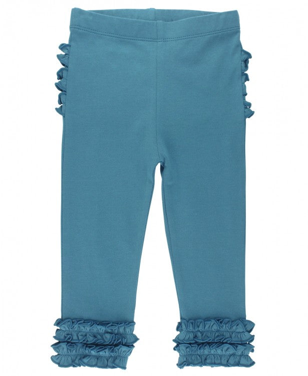 Ruffle Leggings in Ethereal Blue  - Doodlebug's Children's Boutique