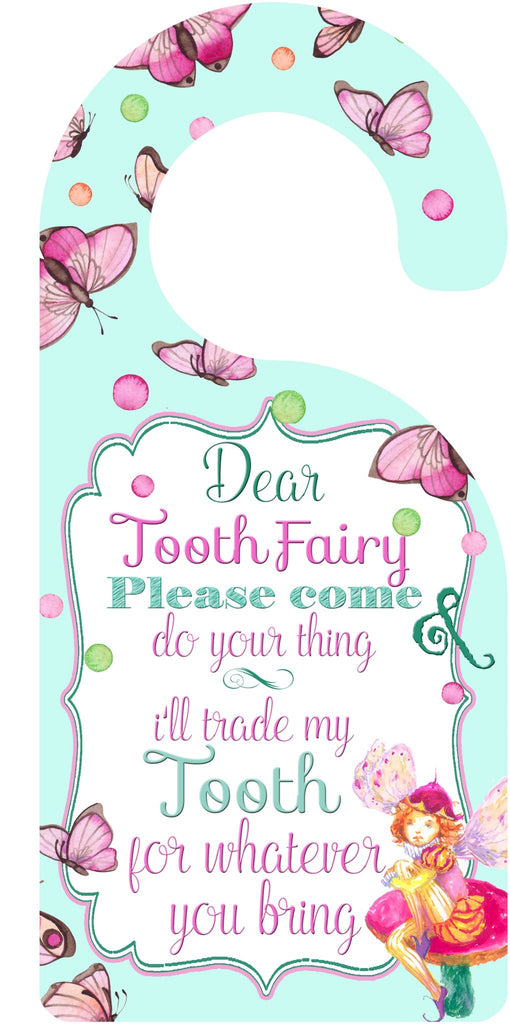 Pink Tooth Fairy Door Hanger