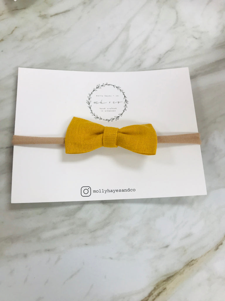 Molly Hayes & Co. Bow on Headband Yellow - Doodlebug's Children's Boutique