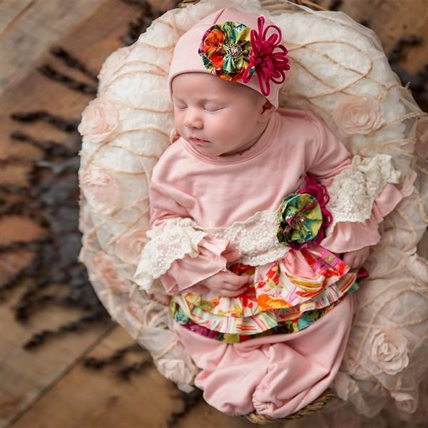Haute Baby Autumn Bloom Flap Cap